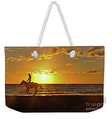 Weekender Tote Bag featuring the photograph Horseback Riding At Sunset by Elaine Manley