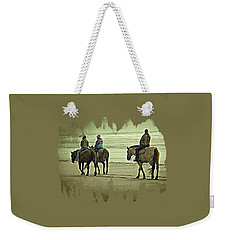 Weekender Tote Bag featuring the photograph Horseback Riding On The Beach by Thom Zehrfeld