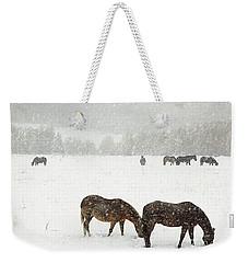 Horses And Snow Weekender Tote Bag