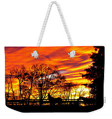 Horses And The Sky Weekender Tote Bag by Donald C Morgan