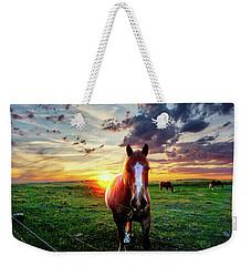 Horses At Sunset Weekender Tote Bag