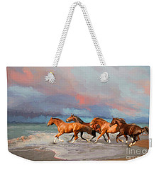 Horses At The Beach Weekender Tote Bag by Mim White