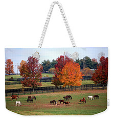 Horses Grazing In The Fall Weekender Tote Bag
