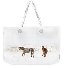 Horses In Snow Weekender Tote Bag