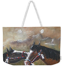 Weekender Tote Bag featuring the painting  Horses by Miroslaw  Chelchowski