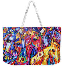 Weekender Tote Bag featuring the painting Horses Of The Five Elements by Dianne  Connolly