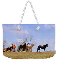 Weekender Tote Bag featuring the photograph Horses On The Hill by Bonnie Willis