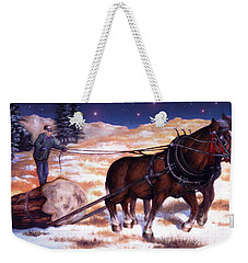 Horses Pulling Log Weekender Tote Bag