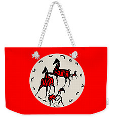 Horses Red Plate Weekender Tote Bag by Mary Armstrong