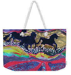 Horses Running Thru A Stream Weekender Tote Bag