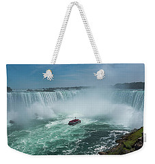 Weekender Tote Bag featuring the photograph Horseshoe Falls Hornblower by Brenda Jacobs