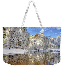 Horsetail Fall Reflections Winter Yosemite National Park Weekender Tote Bag