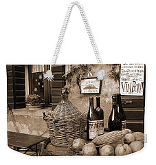 Weekender Tote Bag featuring the photograph Hostaria Alla Rocca by Donna Corless
