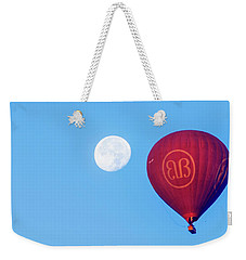 Weekender Tote Bag featuring the photograph Hot Air Balloon And Moon by Pradeep Raja Prints