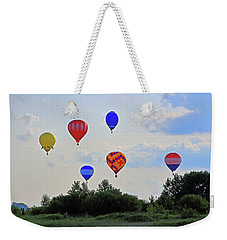Weekender Tote Bag featuring the photograph Hot Air Balloon Launch by Angela Murdock