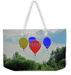 Weekender Tote Bag featuring the photograph Hot Air Balloons In The Sky by Angela Murdock
