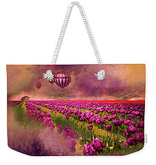 Hot Air Balloons Over Tulip Fields Weekender Tote Bag by Jeff Burgess