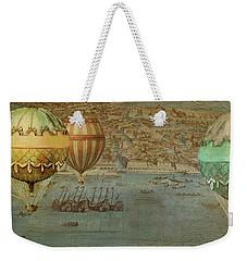Weekender Tote Bag featuring the digital art Hot Air Baloons Over Venus by Jeff Burgess
