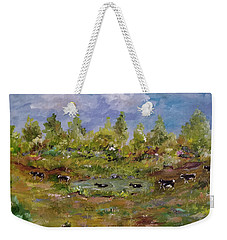 Weekender Tote Bag featuring the painting Hot August Afternoon by Judith Rhue