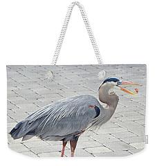 Hot Dog Eating Great Blue Heron Weekender Tote Bag