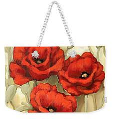 Hot Red Poppies Weekender Tote Bag by Inese Poga