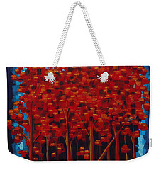 Weekender Tote Bag featuring the painting Hot Reds by Holly Carmichael
