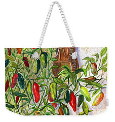 Weekender Tote Bag featuring the painting Hot Sauce On The Vine by Marilyn Smith