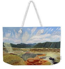 Weekender Tote Bag featuring the painting Hot Springs by Linda Feinberg