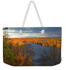 Weekender Tote Bag featuring the photograph Housatonic In Autumn by Karol Livote