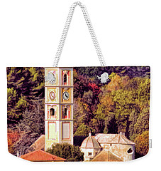 Weekender Tote Bag featuring the digital art House, Church And Castle by Jennie Breeze
