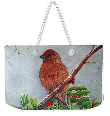 House Finch In Winter Weekender Tote Bag