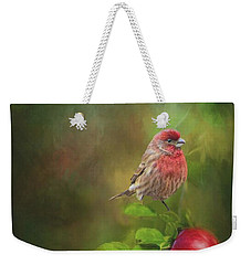 Weekender Tote Bag featuring the photograph House Finch On Apple Branch by Janette Boyd