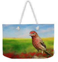 Weekender Tote Bag featuring the photograph House Finch by Steven Richardson