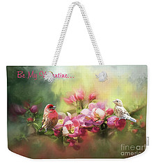 House Finch Valentine Weekender Tote Bag by Janette Boyd