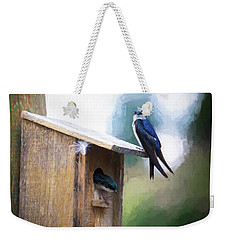 Weekender Tote Bag featuring the photograph House Of Bluebirds by James BO Insogna