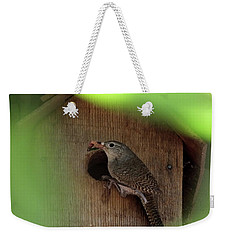 House Wren Brings Breakfast Weekender Tote Bag by Mark Alan Perry
