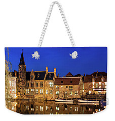 Weekender Tote Bag featuring the photograph Houses By A Canal - Bruges, Belgium by Barry O Carroll