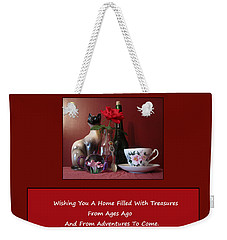 Weekender Tote Bag featuring the mixed media Housewarming Card by Mary Ellen Frazee
