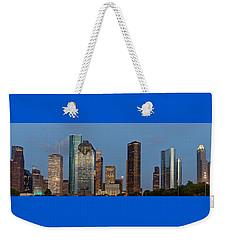 Weekender Tote Bag featuring the photograph Houston Skyline Panorama by Jonathan Davison