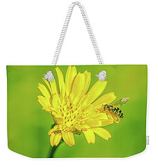 Weekender Tote Bag featuring the photograph Hoverfly June 2016. by Leif Sohlman
