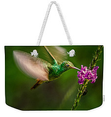 Weekender Tote Bag featuring the photograph Hovering In The Vervain  by Rikk Flohr