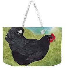 How Do You Like My Little Black Dress? Iridescent Black Hen Weekender Tote Bag