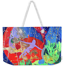 Weekender Tote Bag featuring the painting How To Survive The Space-time Continuum by Denise Weaver Ross