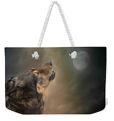 Weekender Tote Bag featuring the digital art Howling At The Moon by Nicole Wilde