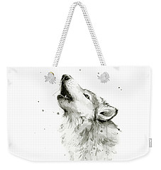 Howling Wolf Watercolor Weekender Tote Bag by Olga Shvartsur