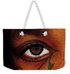 Weekender Tote Bag featuring the digital art Hru's Eye by Iowan Stone-Flowers