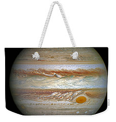 Weekender Tote Bag featuring the photograph Hubble Captures Vivid Auroras In Jupiter's Atmosphere by Nasa