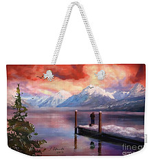 Hudson Bay Winter Fishing Weekender Tote Bag