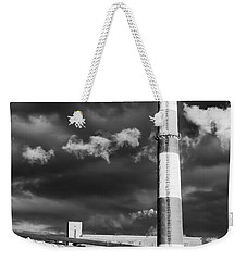 Huge Industrial Chimney And Smoke In Black And White Weekender Tote Bag