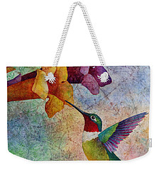 Weekender Tote Bag featuring the painting Hummer Time by Hailey E Herrera